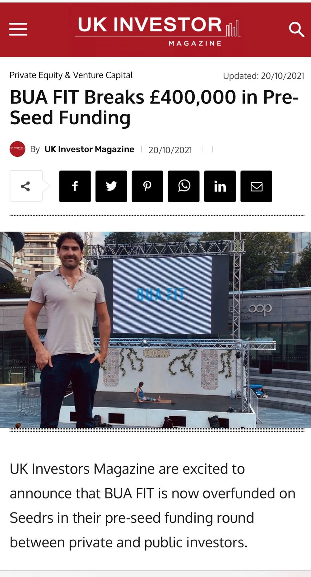 We're delighted to have a write-up in the UK Investor Magazine detailing everything you need to know about our latest milestones.   Get the inside line now 👉 [HERE](https://ukinvestormagazine.co.uk/bua-fit-breaks-400000-in-pre-seed-funding)   💙 Thank you for all your support 💙