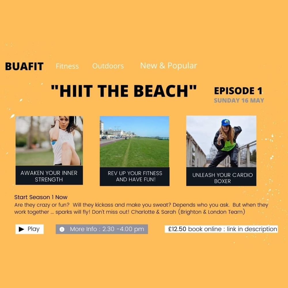 I am very excited to be joining forces with the phenomenal [@charliechazel](/u/charliechazel) and heading down to sunny Brighton 😎. If you fancy a trip down South, join us for [HIIT the Beach](/class/ieaerPiAI6BS) on Sunday 16th May. 👊🤸♀️💥