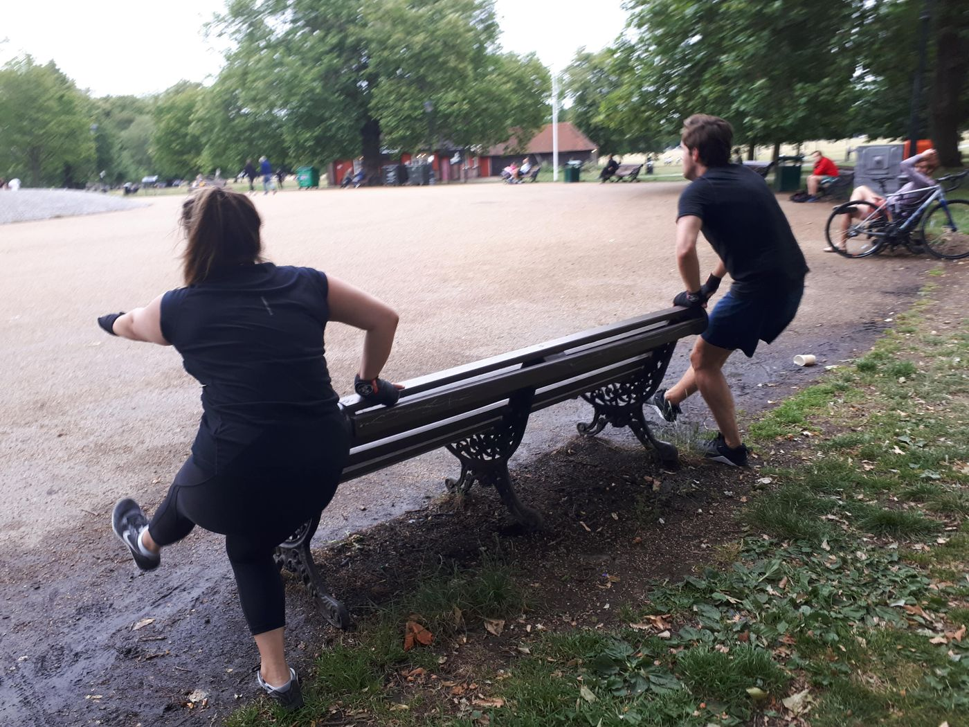 Bench assisted Pistol squats as part of a killer class in Clapham Common tonight