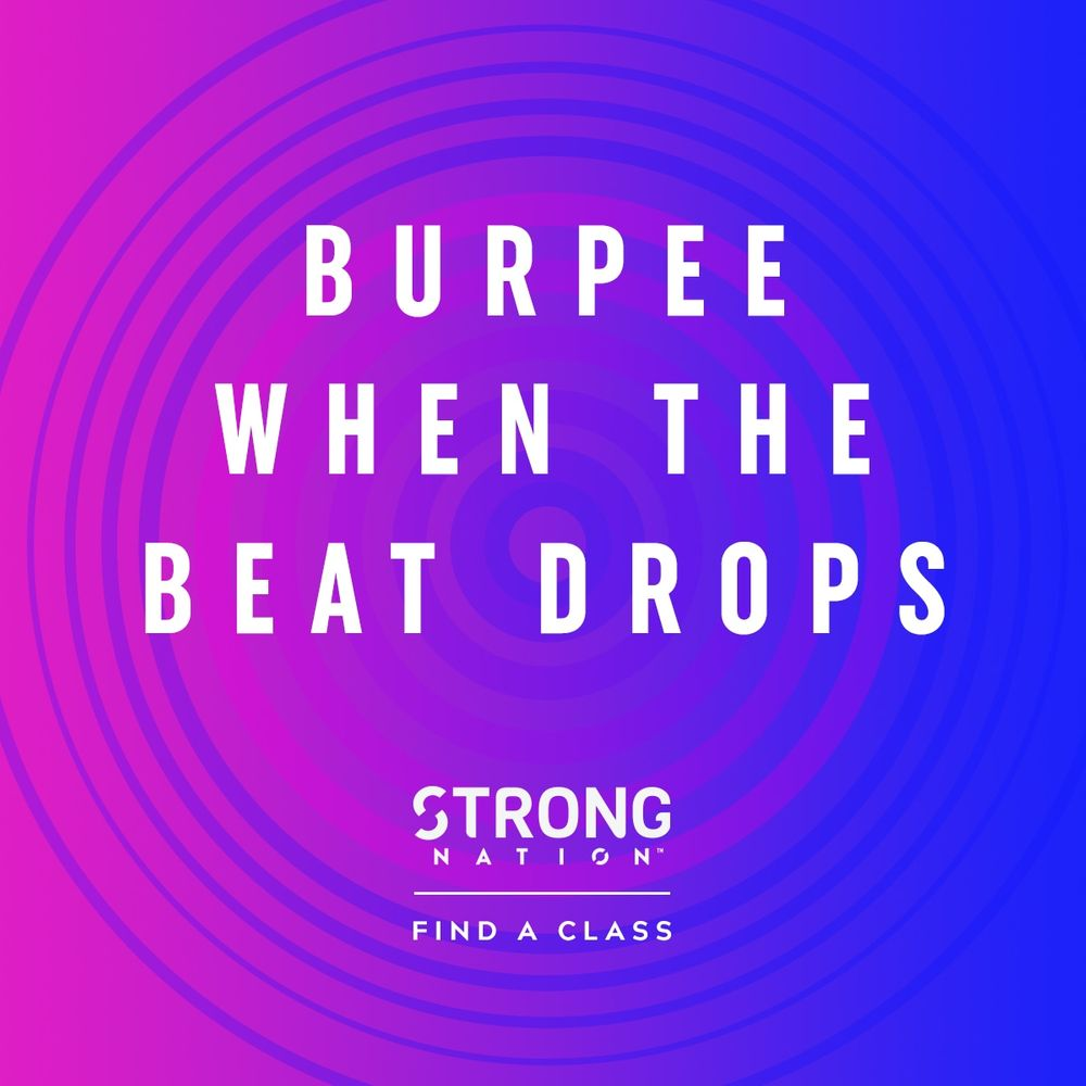 BRAND NEW CLASS COMING NEXT WEEK! STRONG NATION! Stop counting the reps. Start training to the beat. STRONG Nation™ combines body weight, muscle conditioning, cardio and plyometric training moves synced to original music that has been specifically designed to match every single move.