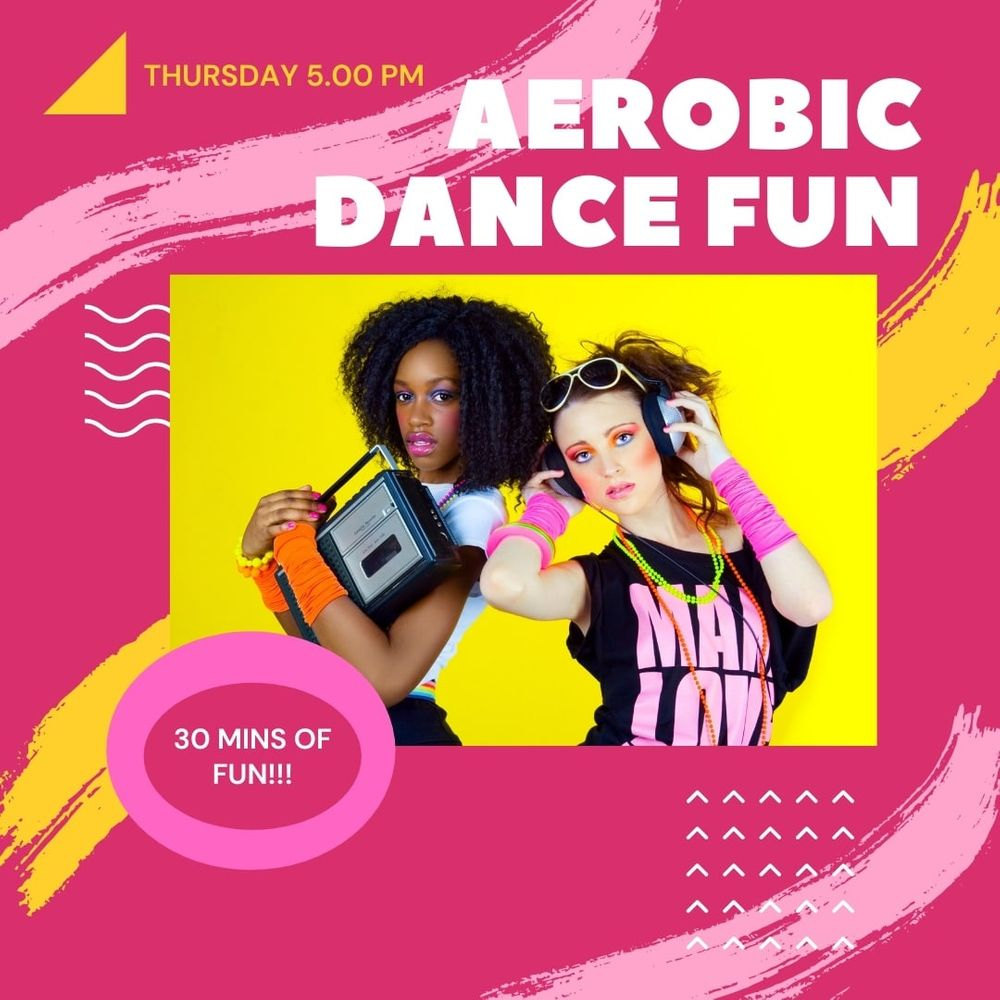 BRAND NEW CLASS! Who remembers Aerobics?!!! I decided to go back and revisit it! LOL! A lot of fun! 30 mins class to bring you happy vibes! Starting this Thursday! Fitness is all about the fun!